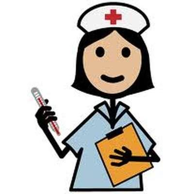 Cartoon nurse with clipboard and thermometer